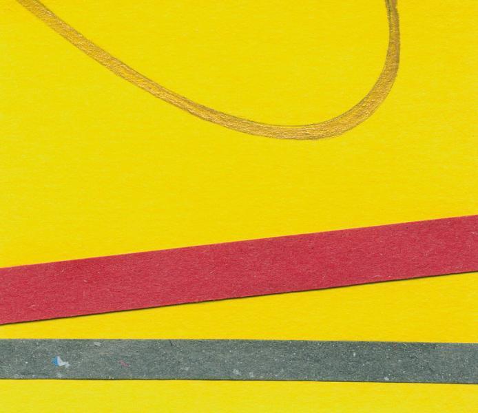 Orbita. Oro-giallo.  2008. Collage e acrilico su carta. cm. 17X45. Copyright  A. Cocchi ©2008