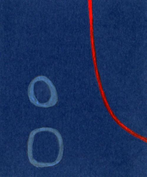 Pensieri azzurri. 2011. Acrilico, creta e acquarello. Cm. 7,5X6,7. Copyright A. Cocchi ©2011.