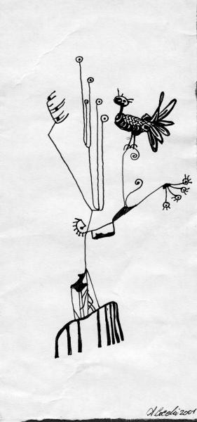 Pernice spettinata. 2001. China su carta. cm.29,7X21   Copyright  A. Cocchi ©2001. Collezione privata