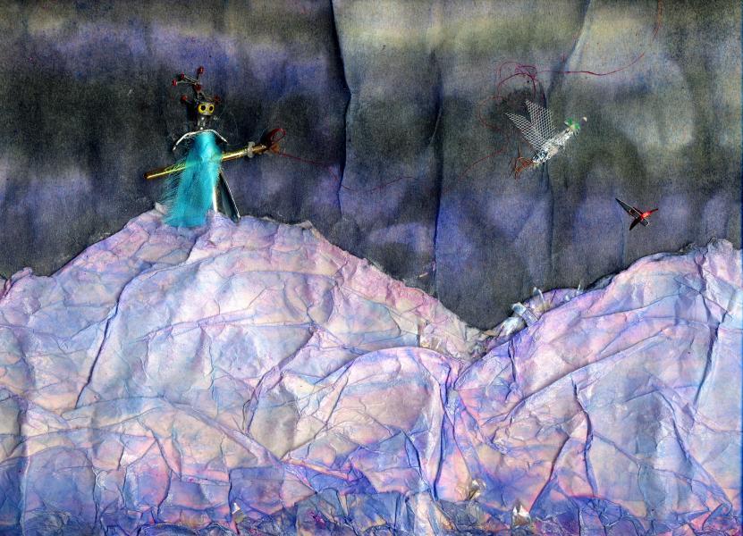 Pescatore di uccelli. 1998. Collage polimaterico su carta. cm. 49,7X70. Copyright  A. Cocchi ©1998