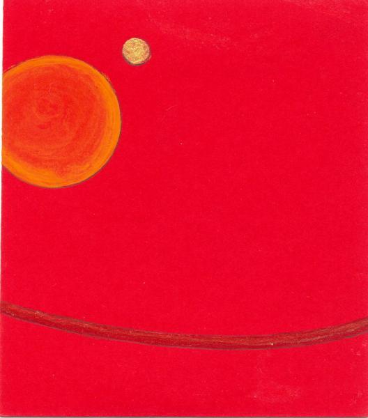Pianeta. Giallo-rosso. 2007. Acrilico su carta.  cm. 17,5X11,5.  Copyright  A. Cocchi ©2007
