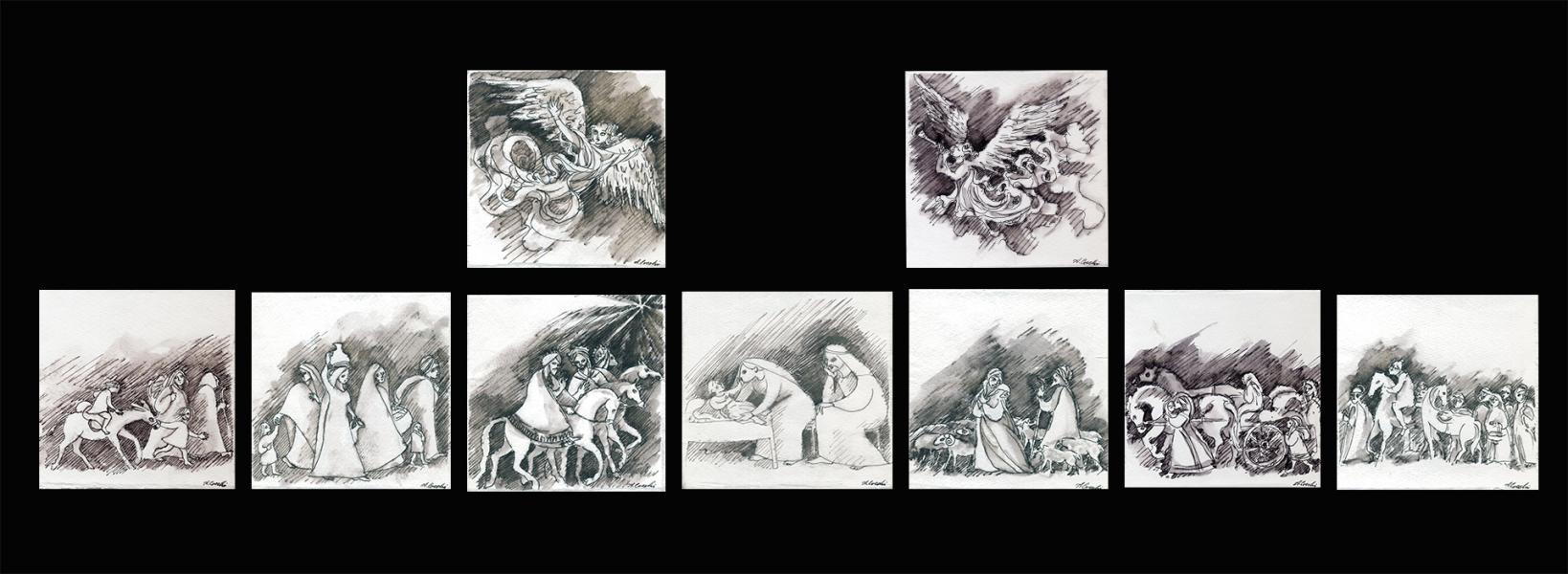Presepe. 2004. Composizione d'insieme. Serie di nove miniature. China su carta Copyright © A. Cocchi 2004