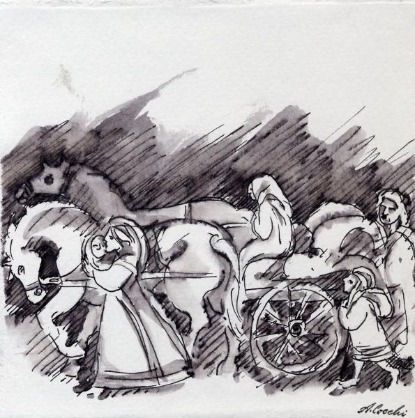 Presepe. I contadini. 2004.  cm.             China su carta Copyright © A. Cocchi 2004