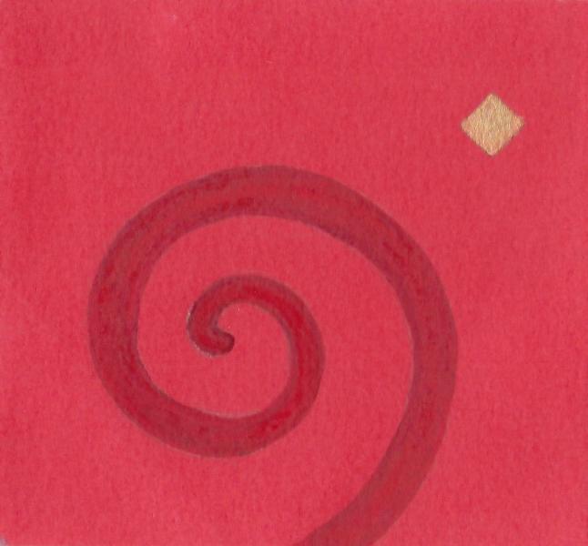 Profezia. 2011. Acrilico, creta e acquarello. Cm. 7,5X6,7. Copyright A. Cocchi ©2011.