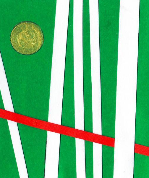 Radiazioni I. Verde. 2008. Collage e acrilico su carta. cm. 15,5X17,5. Copyright  A. Cocchi ©2008