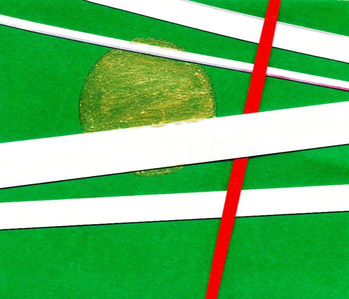 Radiazioni II. Verde. 2008. Collage e acrilico su carta. cm. 15,5X17,5. Copyright  A. Cocchi ©2008