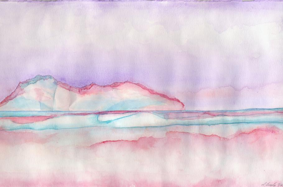 Riflessi rosa. 1997. Inchiostri e collage su carta. cm. 29,5X42. Copyright  A. Cocchi ©1997