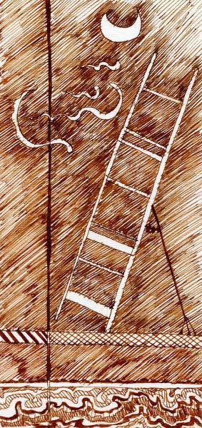 Scala per la luna e per il vento. 2001. Inchiostro seppia su carta. cm. 29,6X21. Copyright  A. Cocchi ©2001.