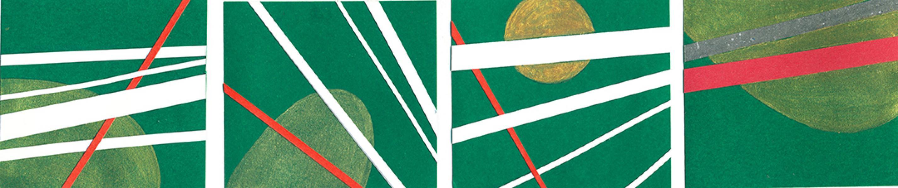 Sequenza. Radiazioni. 2010. Collage e acrilico su carta. cm. 17X45. Copyright  A. Cocchi ©2010