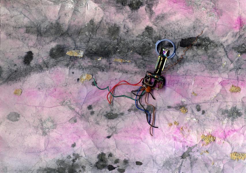 Si è rotto Gagarin. 1998. Collage polimaterico su carta. cm. 41,5X49,8. Copyright  A. Cocchi ©1998