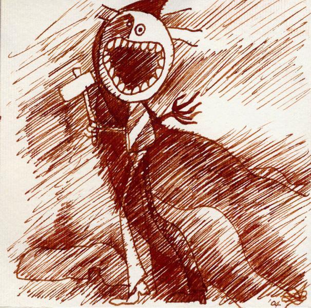 Spacco tutto. 2001. Inchiostro seppia su carta. cm.    Copyright  A. Cocchi ©2001.