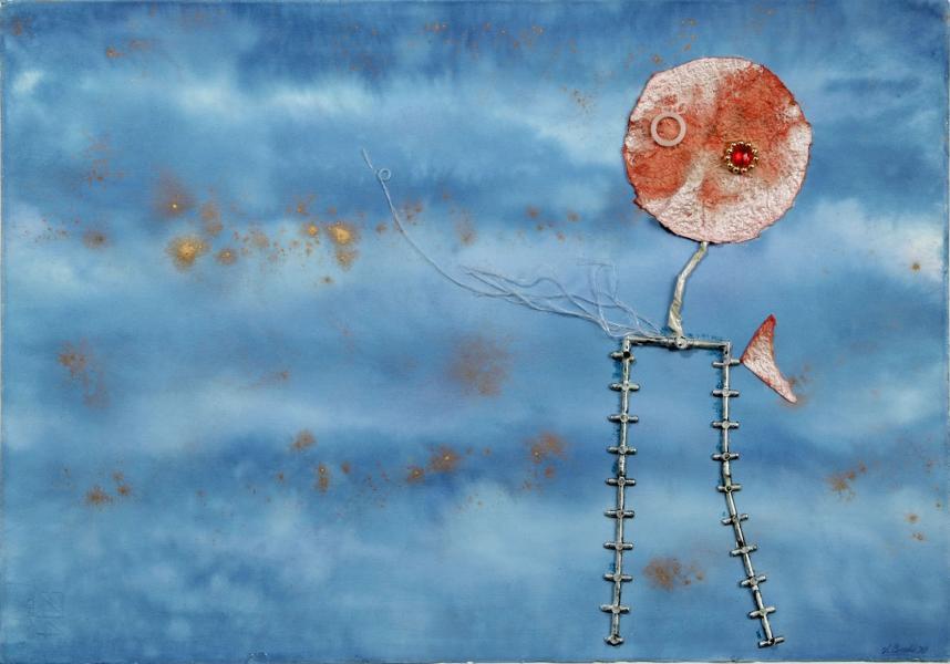 Spiritello giocoso.1998. Collage polimaterico su carta. cm. 50X70. Copyright  A. Cocchi ©1998