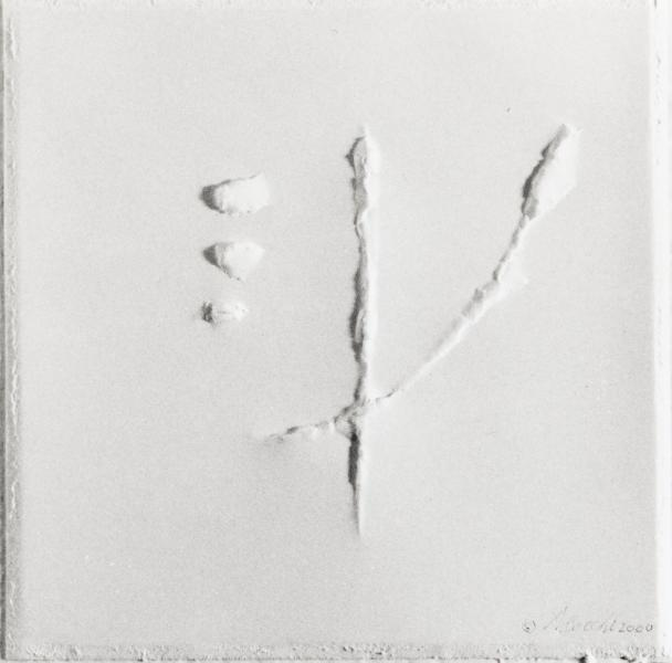 Spirito che lancia frammenti di  sé. 2000. Rilievo su carta. cm. 51X29,8. Copyright  A. Cocchi © 2000