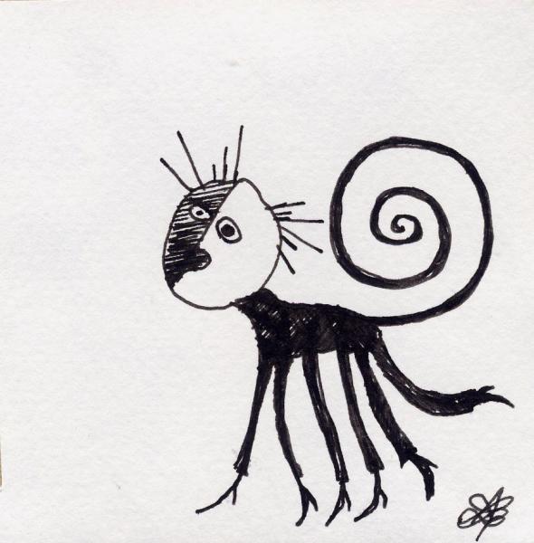Spirito del buio.  2001. China su carta. cm.    Copyright  A. Cocchi ©2001.