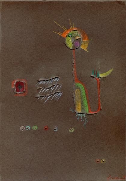 Spirito della pioggia. 2000. Pastelli e rilievo su carta. Copyright  A. Cocchi © 2000