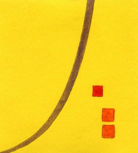 Un luminoso imprevisto. 2011. Acrilico, creta e acquarello. Cm. 7,5X6,7. Copyright  A. Cocchi ©2011. Collezione privata