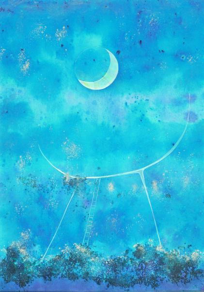 Una culla per la luna. Tecnica mista su carta. 2006. cm.42X29,7. Copyright  A. Cocchi ©2006
