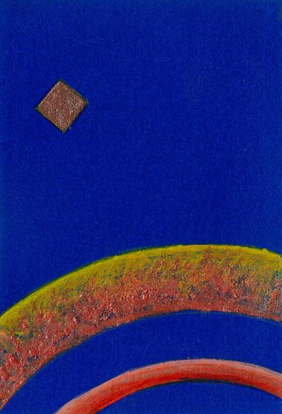 Viaggio. Blu-arancio. 2007. Acrilico su carta. cm. 17,5X11,5. Copyright  A. Cocchi ©2007