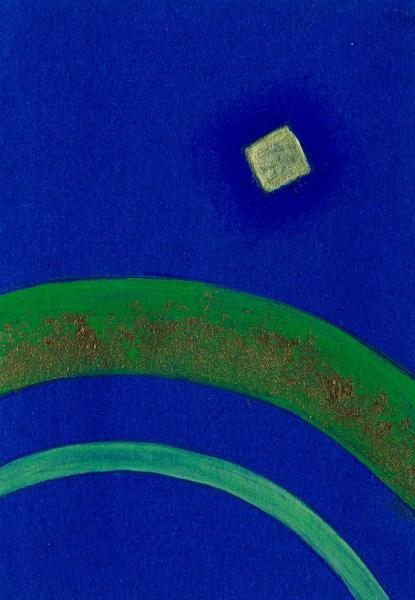 Viaggio. Blu-verde. 2007. Acrilico su carta. cm. 17,5X11,5. Copyright  A. Cocchi ©2007