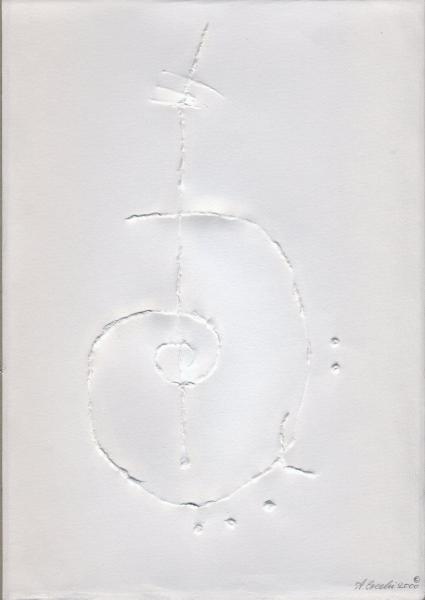 Viola-madre e spiriti nascenti. 2000. Rilievo su carta.  cm. 49X35,5. Copyright  A. Cocchi © 2000.